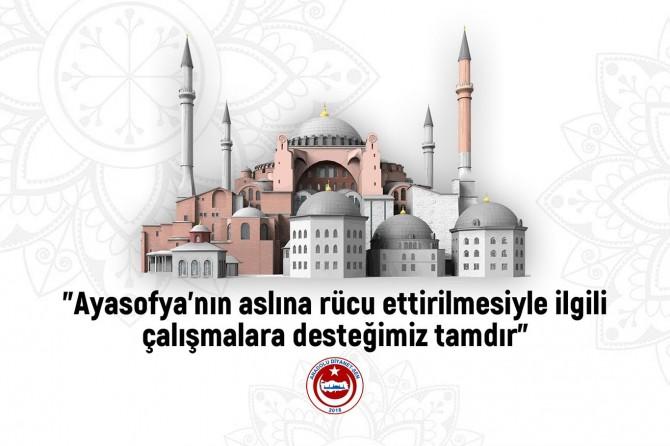 Anadolu Diyanet-Sen: Ayasofya'nın aslına rücu ettirilmesi çalışmalarına desteğimiz tam