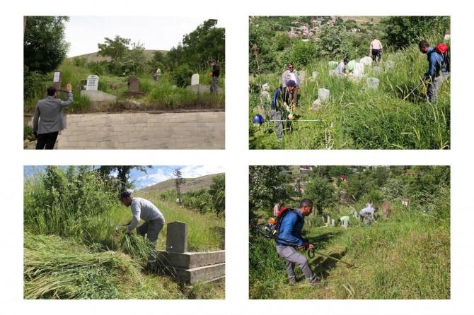 Bitlis'te mezarlıklarda temizlik ve bakım çalışmaları başladı