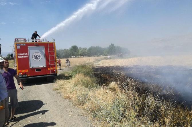 Kovancılar'da elektrik akımına kapılan karga yangına sebep oldu