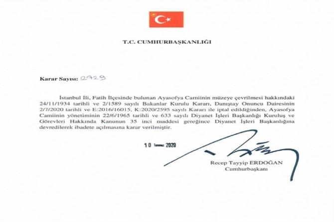 """Erdogan: """"Mizgefta Ayasofyayê ji îbadetê re hat vekirin"""""""