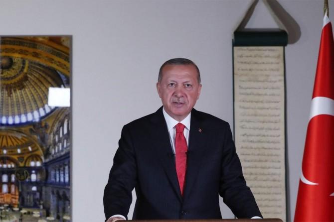 """Erdoğan: """"Ayasofya'nın dirilişi, Mescid-i Aksa'nın özgürlüğe kavuşmasının habercisidir"""""""