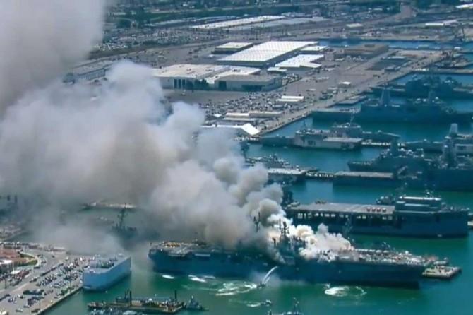 ABD'de bakıma alınan savaş gemisinde patlama: 21 yaralı