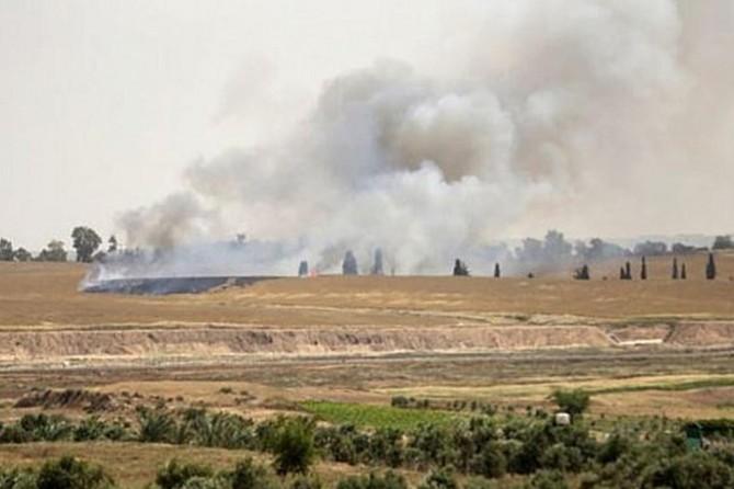 Siyonist işgalciler Kalkilya'nın güneyinde tarım arazilerini ateşe verdi