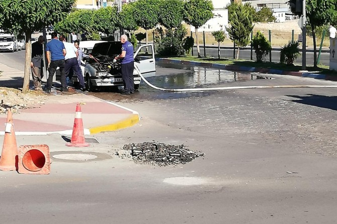Kâhta'da alev alan araç söndürüldü