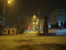 Çınarda kar yağışı başladı