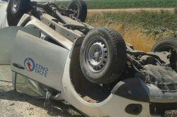 Çınarda Elektrik arızasını onarmaya giden DEDAŞ ekibi kaza yaptı