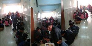 Yemekhanesi olmayan okulda öğrenciler koridorda yemek yiyor