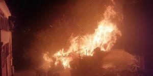 Bingöl Genç'te ahır yangınında 2 araç yandı 4 hayvan telef oldu
