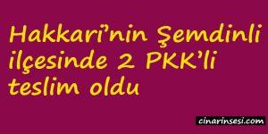 Hakkari Şemdinli'de 2 PKK'li teslim oldu