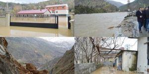 Bitlis Mutki'de sel ve heyelan: Yollar kapandı evler yıkıldı