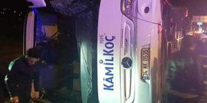 Yalova'da yolcu otobüsü devrildi: 11 yaralı
