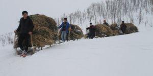 Muş'ta köylülerin kızaklarla meşakkatli yolculuğu