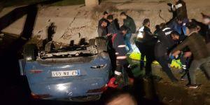 Otomobil sulama kanalına uçtu: Bir yaralı