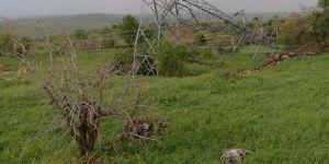 Midyat'ta fırtına elektrik direklerini devirdi