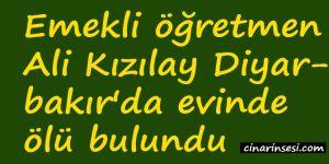 Emekli öğretmen Ali Kızılay Diyarbakır'da evinde ölü bulundu
