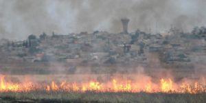 Suriye sınırında mayınlı bölgede yangın