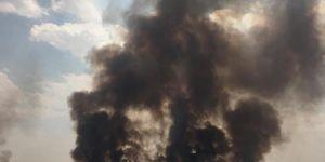 Kamışlo'daki yangın Nusaybin'den görüldü
