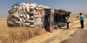 Diyarbakır'da saman yüklü kamyon devrildi: 6 yaralı