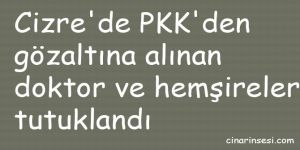 Cizre'de PKK'den gözaltına alınan doktor ve hemşireler tutuklandı