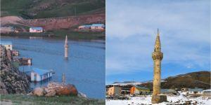 Ağrı'da Yazıcı Barajının suyu çekilince eski yapılar gün yüzüne çıktı