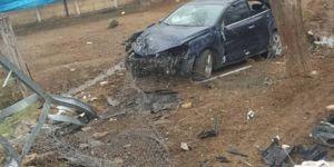 Palu'da elektrik direğine çarpan araç şarampole yuvarlandı
