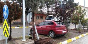 Fren yerine gaza basan sürücü trafik lambasına çarptı