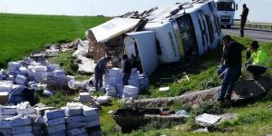Kızıltepe'de devrilen TIR'ın sürücüsü yaralandı