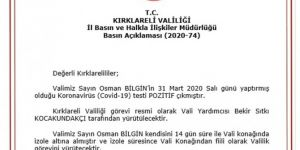 Kırklareli Valisi Osman Bilgin'in Coronavirus test sonucu pozitif çıktı