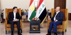 Irak Cumhurbaşkanı Salih ile Kürdistan Başkanı Barzani,Süleymaniye'de bir araya geldi
