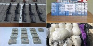 Yasadışı yollardan getirilen uyuşturucu, silah ve küçükbaş hayvan ele geçirildi