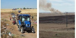 Nusaybin'de buğday tarlasında çıkan yangın, çiftçilerin erken müdahalesiyle büyümeden söndürüldü