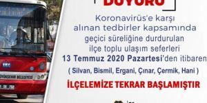 Diyarbakır'da 6 ilçede toplu taşıma hizmeti yeniden başlıyor