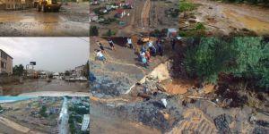 Bitlis'te ani bastıran şiddetli yağışlar sele neden oldu, yollar trafiğe kapandı