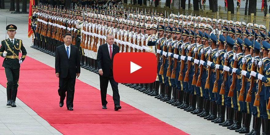 Cumhurbaşkanı Erdoğan Çin'de törenle karşılandı
